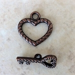 16mm Heart and Key Toggle - Antique Copper - 1 pc.