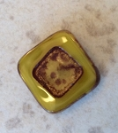 15mm Czech Glass Table Cut Tabular Square – Yellow Opal with Travertine - 1 qty.