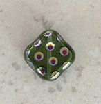18mm Czech Glass Tabular Square – Peacock Finish – 1 qty.
