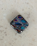 18 x 18mm Czech Glass Tabular Square - Peacock Finish - 1 qty.