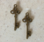 32mm Pewter Key – Antique Brass Plated – 2 qty.