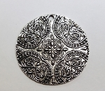40mm Round Pewter Medallion - Antique Silver