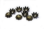 10mm Flower Bead Cap – Antique Brass – 8 qty.