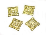 16mm Square Brass Stamping - 4 qty.
