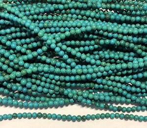"4mm Dyed Howlite Round Beads - Turquoise - 16"" Strand"