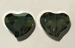 Chinese Crystal Curved Heart, 16x18mm - Olivine Luster - 2 qty.