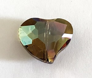 Chinese Crystal Curved Heart, 20x22mm - Smoky Topaz AB - 1 qty.