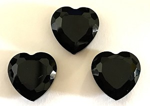 Chinese Crystal Hearts, 16x16mm - Jet Black - 3 qty.