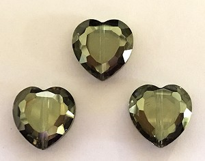 Chinese Crystal Hearts, 16x16mm - Olivine Luster - 3 qty.