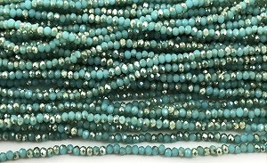Chinese Crystal Rondelle Beads - Seafoam Opal w/ Silver Luster, 2x3mm - 1 strand
