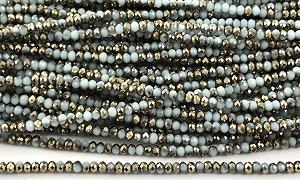 Chinese Crystal Rondelle Beads - White w/ Gold, 2x3mm - 1 strand