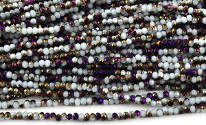 Chinese Crystal Rondelle Beads - White w/ Purple Iris, 2x3mm - 1 strand