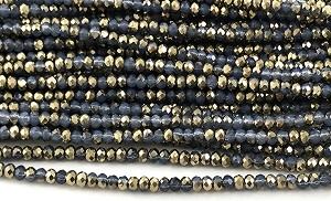 Chinese Crystal Rondelle Beads - Grey Opal w/ Gold, 1.5x2mm - 1 strand