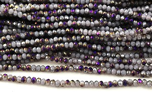 Chinese Crystal Rondelle Beads - Lavender Opal w/ Purple Iris, 1.5x2mm - 1 strand