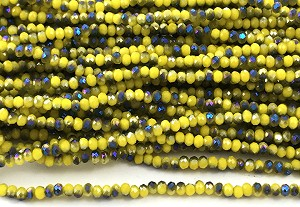 Chinese Crystal Rondelle Beads - Opaque Yellow w/ Blue Iris, 1.5x2mm - 1 strand