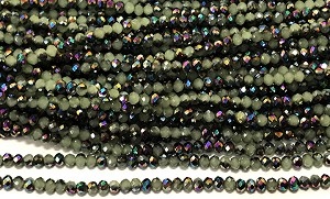 Chinese Crystal Rondelle Beads - Green Opal w/ Rainbow Iris, 1.5x2mm - 1 strand