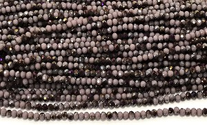 Chinese Crystal Rondelle Beads - Opaque Lavender w/ Purple Iris, 2x3mm - 1 strand
