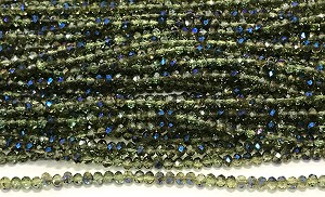 Chinese Crystal Rondelle Beads - Olivine w/ Blue Iris, 2x3mm - 1 strand