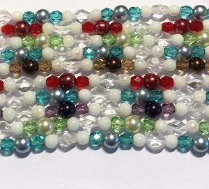 5 - 8mm Czech Glass Beads and Pearls Designer Strand – Assorted Colors - aprx. 30 pcs.