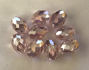 8 x 11mm Chinese Crystal Faceted Oval - Light Pink w/ AB & Silver Luster Mixed - 9 qty.