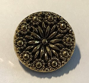 1920's Antique German Glass Button 18mm - Antique Gold Flower- 1 qty