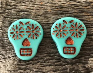 Glass Sugar Skull Beads, Matte Opaque Turquoise with Copper Wash, 20x17mm, 2 Qty.