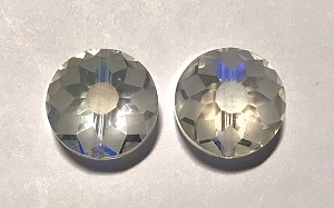 9 x 14mm Hand-cut Chinese Crystals - Crystal w/ Light AB - 2 qty.
