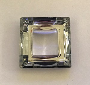 6 x 30mm Chinese Cut Crystal Square – Silver Chrome - 1 qty.