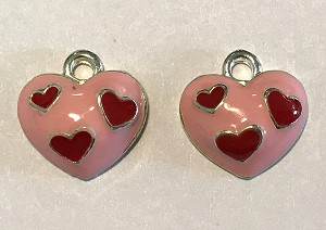 14mm Silver Plated Pewter Enameled Heart Charm – Pink & Red – 2 qty.