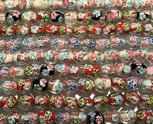 Apprx. 14 x 15mm Handmade Chinese Lampwork Barrel Beads – Floral - Color Varies – 1 qty. piece