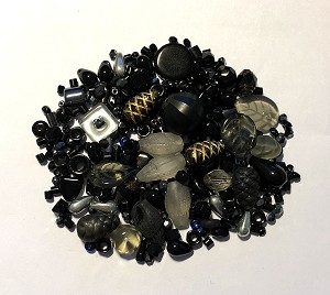 50g Czech Mix w/ Japanese Seed Beads - Black & Mixed Metals