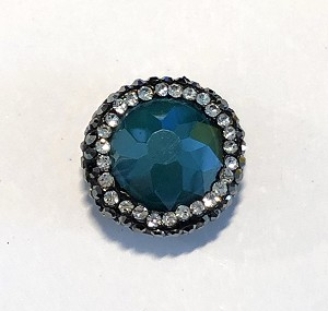9 x 19mm Chinese Crystal Puffed Coin Shaped Focal Bead - Teal w/ Marquisite & Cubic Zirconia Pave Rhinestone Edging - 1 qty.