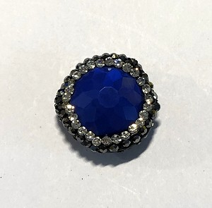 9 x 19mm Chinese Crystal Puffed Coin Shaped Focal Bead - Lapis Blue w/ Marquisite & Cubic Zirconia Pave Rhinestone Edging - 1 qty.