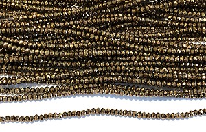 1 1/2 x 2mm Chinese Crystal Rondelle - Bronze - 1 Strand
