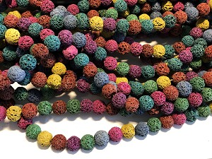 Dyed Lava - 10mm Rounds.  Multicolor.  Sold per 15 inch strand, apprx. 40 beads.