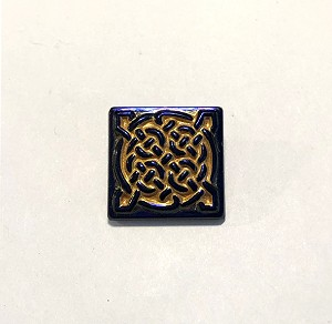 19mm Hand Painted Czech Glass Celtic Square Button - Black w/ Gold & Purple Iris - 1 qty.