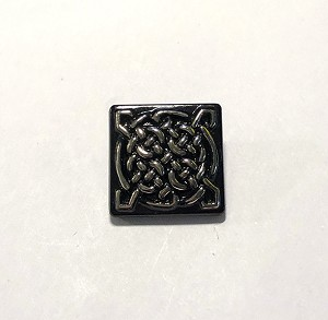 19mm Hand Painted Czech Glass Celtic Square Button - Black w/ Chrome - 1 qty.