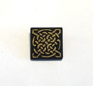 19mm Hand Painted Czech Glass Celtic Square Button - Matte Black w/ Gold - 1 qty.