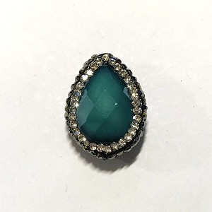 18 x 23mm Chinese Crystal Tear Drop Focal Bead - Teal w/ Marquisite & Cubic Zirconia Pave Rhinestone Edging - 1 qty.