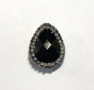 18 x 23mm Chinese Crystal Tear Drop Focal Bead - Jet Black w/ Marquisite & Cubic Zirconia Pave Rhinestone Edging - 1 qty.