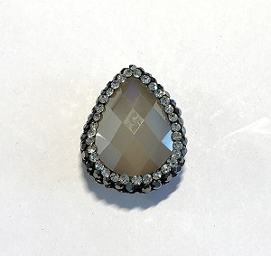 18 x 23mm Chinese Crystal Tear Drop Focal Bead - Taupe Opal w/ Marquisite & Cubic Zirconia Pave Rhinestone Edging - 1 qty.