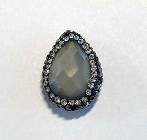 18 x 23mm Chinese Crystal Tear Drop Focal Bead - Grey Opal w/ Marquisite & Cubic Zirconia Pave Rhinestone Edging - 1 qty.