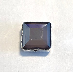 13mm Chinese Crystal Square Focal Bead - Purple Opal w/ Silver Electroplated Edging - 1 qty.