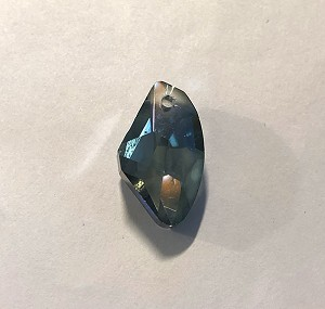 18 x 11mm Chinese Crystal Faceted Baroque Drop - Black Diamond w/ Blue Luster - 1 qty.