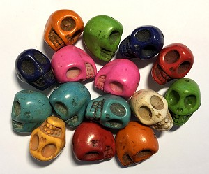 Dyed Magnesite - 28mm XL Skull Bead - Color Varies - 1 qty.