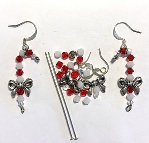 4mm Swarovski Crystal Bicones & Silver Plated Earring Kit - Beads & Findings - Candy Cane