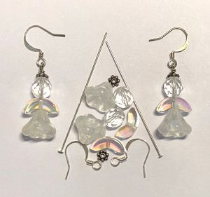 Czech Glass & Silver Plated Earring Kit - Beads & Findings - Crystal AB Angel