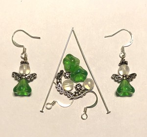 Czech Glass & Silver Plated Earring Kit - Beads & Findings - Holiday Green & Crystal AB Angel
