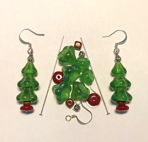 Czech Glass & Silver Plated Earring Kit - Beads & Findings - Holiday Green AB & Red Christmas Tree
