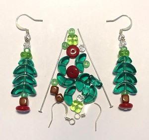 Czech Glass & Silver Plated Earring Kit - Beads & Findings - Holiday Greens & Red Christmas Tree